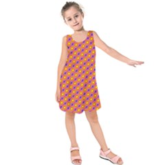 Vibrant Retro Diamond Pattern Kids  Sleeveless Dress