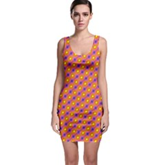 Vibrant Retro Diamond Pattern Bodycon Dress