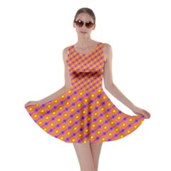 Vibrant Retro Diamond Pattern Skater Dress by DanaeStudio