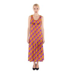 Vibrant Retro Diamond Pattern Sleeveless Maxi Dress