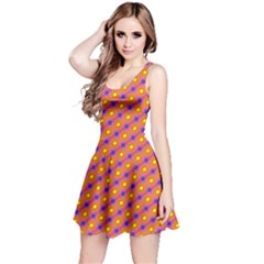 Vibrant Retro Diamond Pattern Reversible Sleeveless Dress