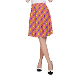 Vibrant Retro Diamond Pattern A-Line Skirt