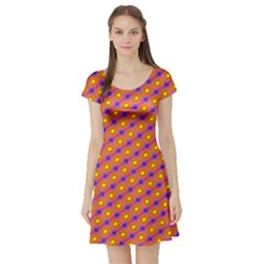 Vibrant Retro Diamond Pattern Short Sleeve Skater Dress