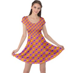 Vibrant Retro Diamond Pattern Cap Sleeve Dress