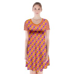 Vibrant Retro Diamond Pattern Short Sleeve V-neck Flare Dress