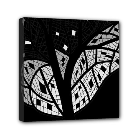 Black And White Tree Mini Canvas 6  X 6  by Valentinaart