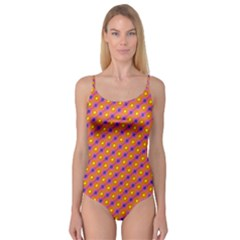 Vibrant Retro Diamond Pattern Camisole Leotard