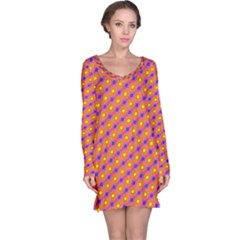 Vibrant Retro Diamond Pattern Long Sleeve Nightdress