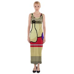 Decorative Art Fitted Maxi Dress by Valentinaart