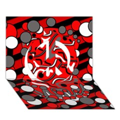 Red Mess Peace Sign 3d Greeting Card (7x5)