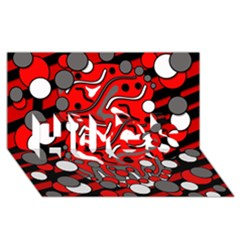 Red Mess Hugs 3d Greeting Card (8x4) by Valentinaart