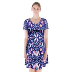 Flora Cosmica Short Sleeve V Neck Flare Dress