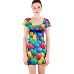 Funny Colorful Red Yellow Green Blue Kids Play Balls Short Sleeve Bodycon Dress by yoursparklingshop