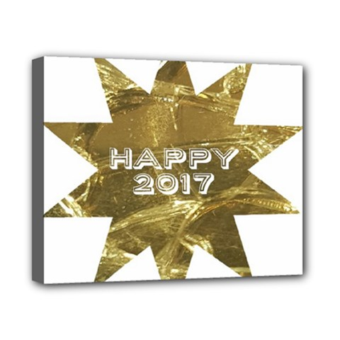 Happy New Year 2017 Gold White Star Canvas 10  X 8  by yoursparklingshop
