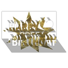 Happy New Year 2017 Gold White Star Happy Birthday 3d Greeting Card (8x4) by yoursparklingshop