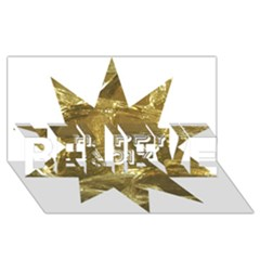 Happy New Year 2017 Gold White Star Believe 3d Greeting Card (8x4) by yoursparklingshop