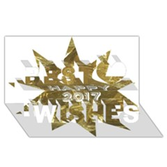 Happy New Year 2017 Gold White Star Best Wish 3d Greeting Card (8x4) by yoursparklingshop