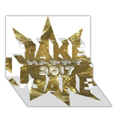 Happy New Year 2017 Gold White Star Take Care 3d Greeting Card (7x5)