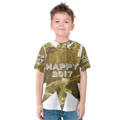 Happy New Year 2017 Gold White Star Kids  Cotton Tee by yoursparklingshop