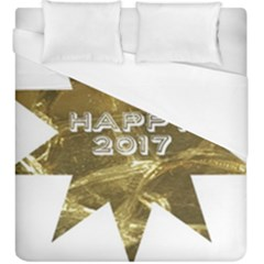 Happy New Year 2017 Gold White Star Duvet Cover (king Size) by yoursparklingshop