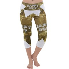 Happy New Year 2017 Gold White Star Capri Yoga Leggings by yoursparklingshop
