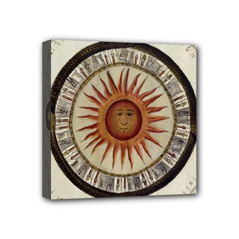 Ancient Aztec Sun Calendar 1790 Vintage Drawing Mini Canvas 4  X 4  by yoursparklingshop