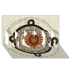 Ancient Aztec Sun Calendar 1790 Vintage Drawing Mom 3d Greeting Card (8x4) by yoursparklingshop
