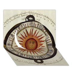 Ancient Aztec Sun Calendar 1790 Vintage Drawing Circle 3d Greeting Card (7x5) by yoursparklingshop