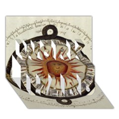 Ancient Aztec Sun Calendar 1790 Vintage Drawing Work Hard 3d Greeting Card (7x5) by yoursparklingshop