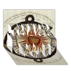 Ancient Aztec Sun Calendar 1790 Vintage Drawing Thank You 3d Greeting Card (7x5) by yoursparklingshop