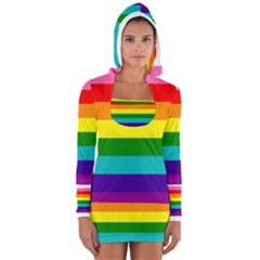 Colorful Stripes Lgbt Rainbow Flag Women s Long Sleeve Hooded T Shirt by yoursparklingshop