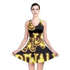 Happy Diwali Yellow Black Typography Reversible Skater Dress by yoursparklingshop