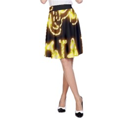 Happy Diwali Yellow Black Typography A Line Skirt by yoursparklingshop