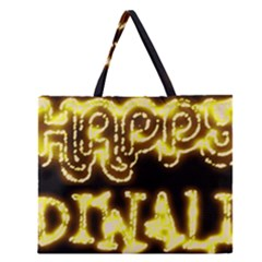 Happy Diwali Yellow Black Typography Zipper Large Tote Bag by yoursparklingshop
