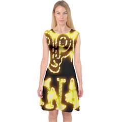 Happy Diwali Yellow Black Typography Capsleeve Midi Dress by yoursparklingshop