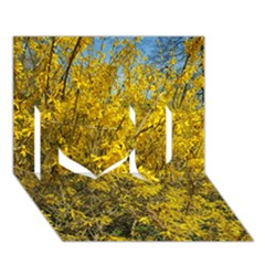 Nature, Yellow Orange Tree Photography I Love You 3d Greeting Card (7x5) by yoursparklingshop