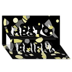 Yellow And Gray Abstract Art Best Friends 3d Greeting Card (8x4)