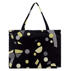 Yellow And Gray Abstract Art Medium Zipper Tote Bag by Valentinaart