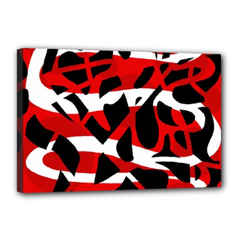 Red Chaos Canvas 18  X 12  by Valentinaart