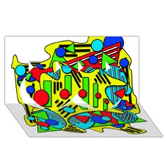 Colorful Chaos Twin Hearts 3d Greeting Card (8x4)