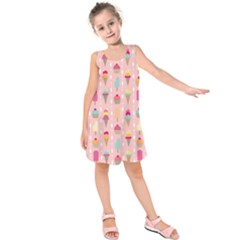 Ice Cream And Cupcake Sweet Tooth Pattern Kids  Sleeveless Dress