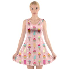 Ice Cream And Cupcake Sweet Tooth Pattern V Neck Sleeveless Dress
