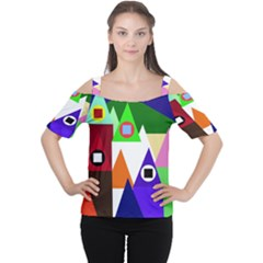 Colorful Houses  Women s Cutout Shoulder Tee by Valentinaart