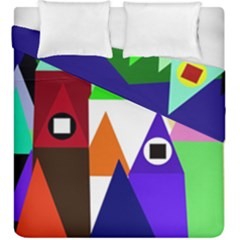 Colorful houses  Duvet Cover Double Side (King Size) by Valentinaart