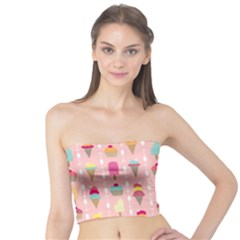 Ice Cream And Cupcake Sweet Tooth Pattern Tube Top by LisaGuenDesign