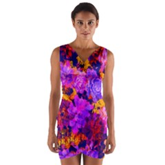 Purple Painted Floral And Succulents Wrap Front Bodycon Dress