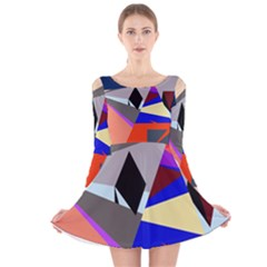Geometrical Abstract Design Long Sleeve Velvet Skater Dress by Valentinaart