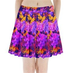 Purple Painted Floral And Succulents Pleated Mini Skirt by LisaGuenDesign