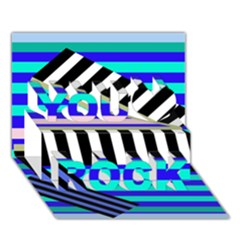 Blue Lines Decor You Rock 3d Greeting Card (7x5) by Valentinaart