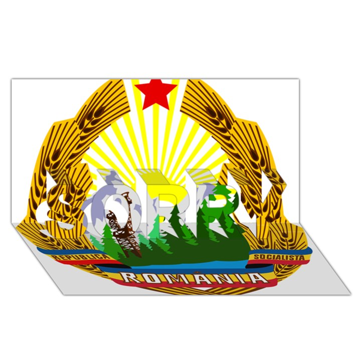 National Emblem of Romania, 1965-1989  SORRY 3D Greeting Card (8x4)